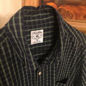 BROOKS BROTHERS~non iron all Cotton Green/Blue Pla